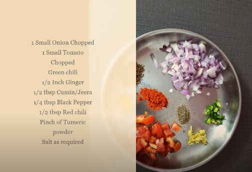 Ingredients for vermicelli semiya upma recipe