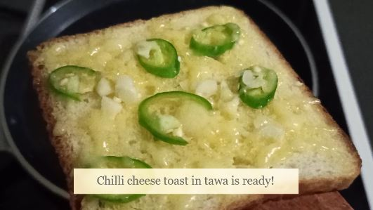 chilli cheese toast in tawa ready