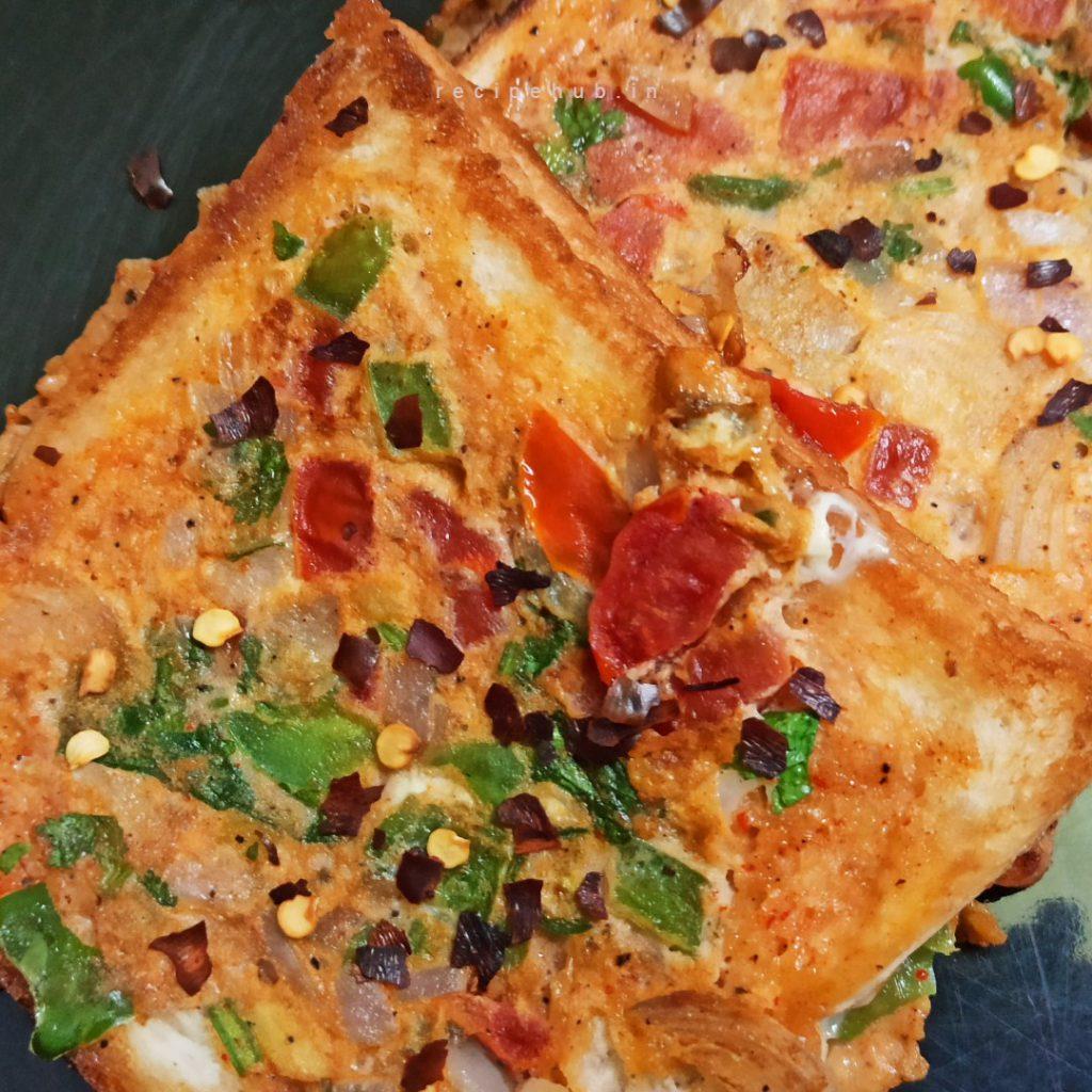 bread omelette masala recipe